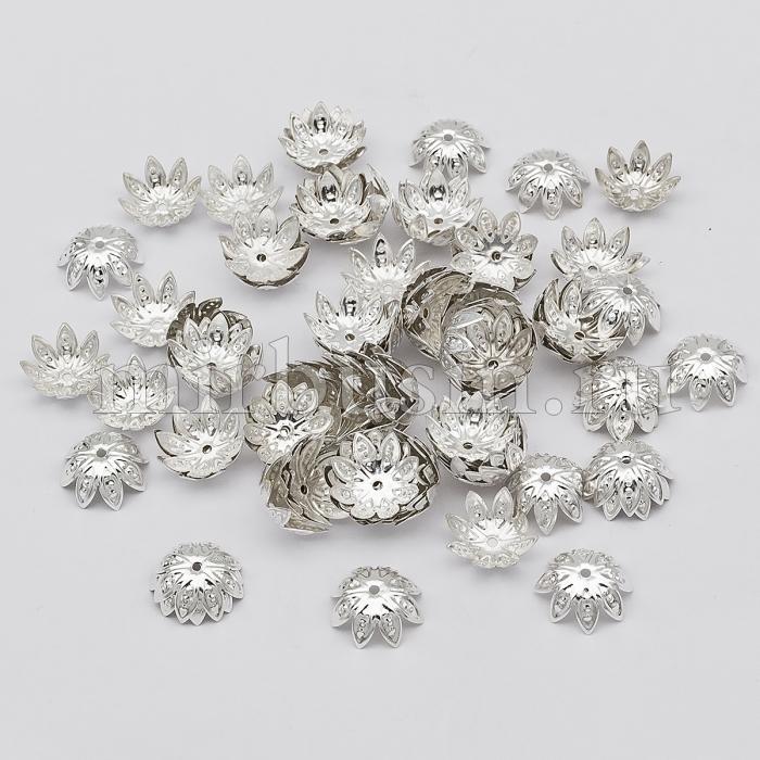 Шапочки для Бусин Железные, Цветок, Цвет: Серебро, Размер: 14х4.5мм, Отверстие 1мм, (УТ100016812)
