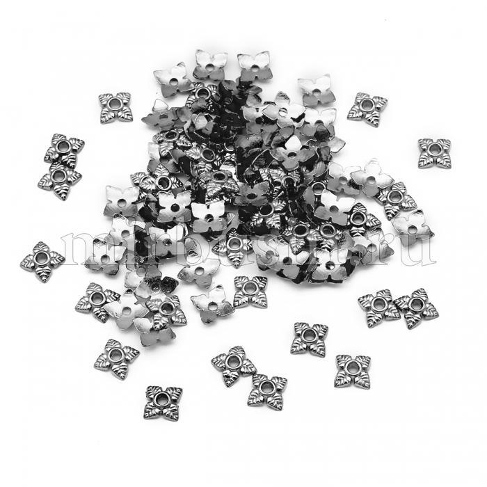Шапочки для Бусин, Сплав, Цветок, Цвет: Оружейная Сталь, Размер: 6х6х2мм, Отверстие 1мм, (УТ100016848)