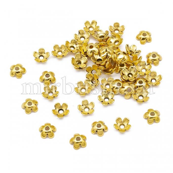 Шапочки для Бусин, Сплав, Цветок, Цвет: Античное Золото, Размер: 6.5х3мм, Отверстие 1мм, (УТ100016849)