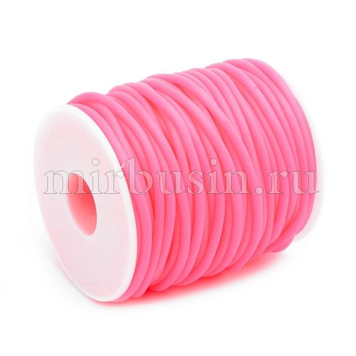 Шнур Силиконовый Полый, Цвет: Розовый, Размер: Диаметр 5мм, Отверстие 3мм, около 10м/катушка, (УТ100016873)