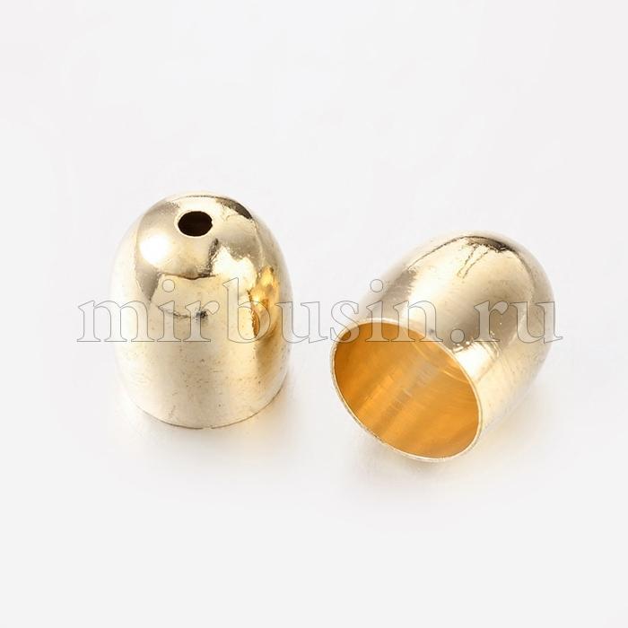 Конус Шапочки для Бусин, Латунь, Цвет: Золото, Размер: 12х11мм, Внутренний Диаметр 9.5мм, Отверстие 1.5мм, (УТ100016898)