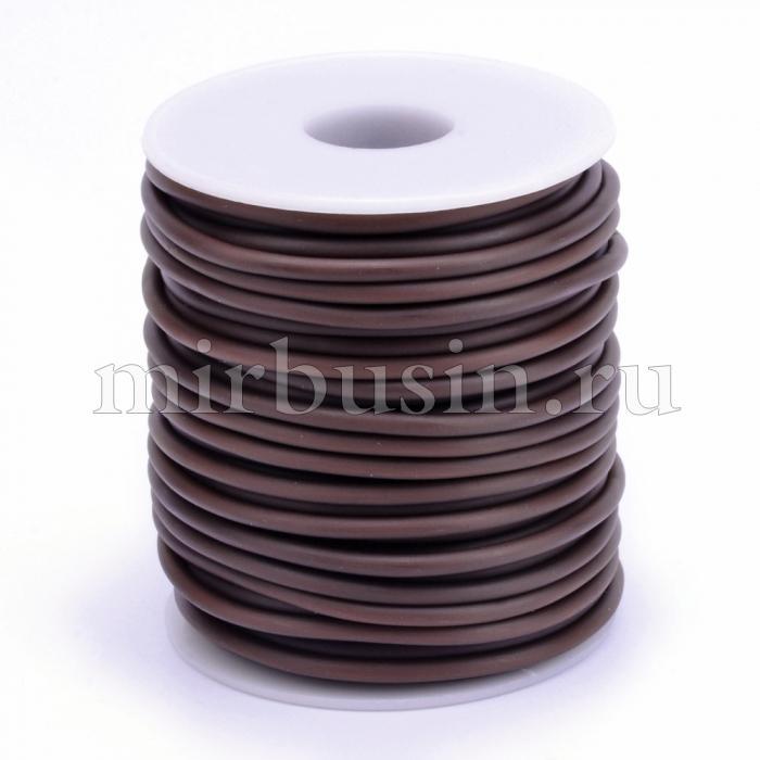 Шнур Резиновый Синтетический Полый, Цвет: Коричневый , Толщина 3мм, Отверстие 1.5мм, (УТ100016921)