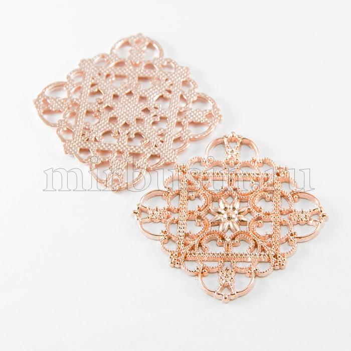 Коннектор Филигранный, Бижутерный сплав, Цвет: Розовое Золото, Размер: 36x36x1мм, Отверстие 1мм, (УТ100010601)