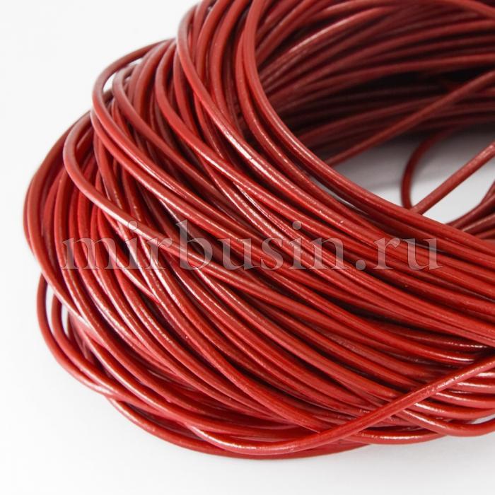 Шнур Натуральная Кожа, Цвет: Красный, Размер: Диаметр 2мм, (УТ100018548)