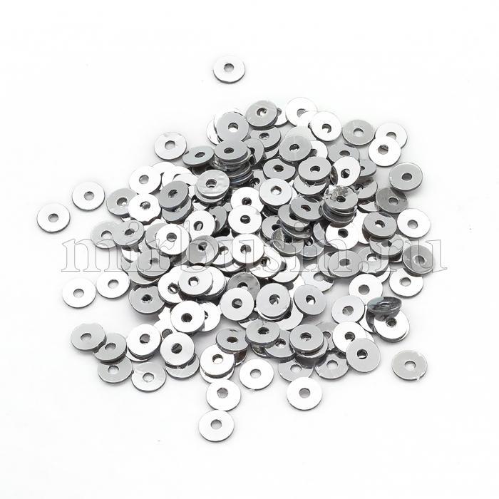 Пайетки, Круглые, Зеркальные, Цвет: Серый, Размер: 3мм, около 1150шт/5г, (УТ100024164)