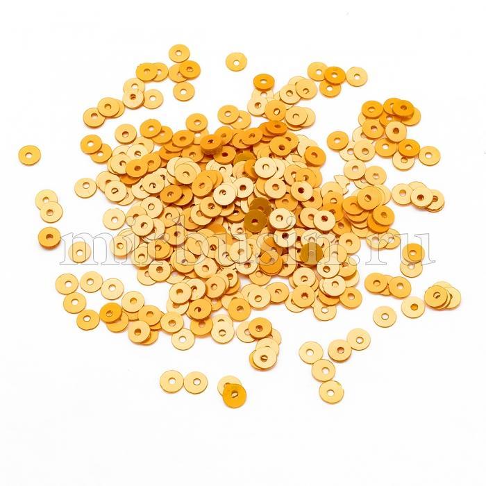 Пайетки, Круглые, Матовые, Непрозрачные, Цвет: Желто-оранжевый, Размер: 4мм, около 1500шт/10г, (УТ100024167)
