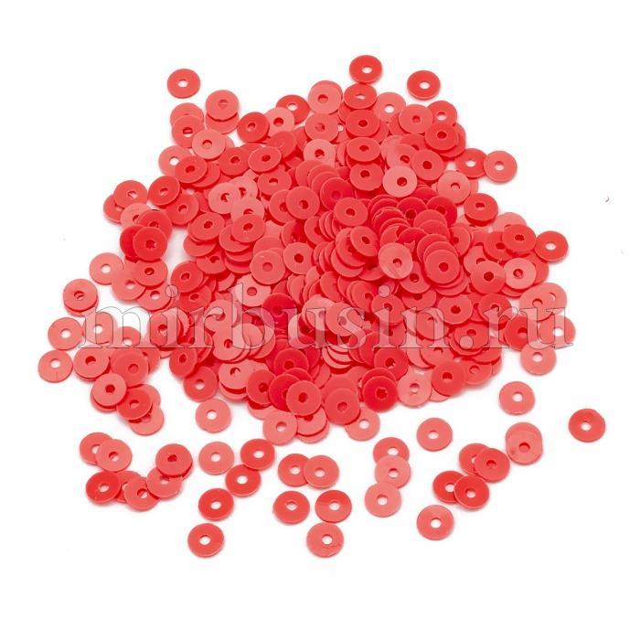 Пайетки, Круглые, Матовые, Цвет: Коралловый, Размер: 4мм, около 1500шт/10г, (УТ100024179)