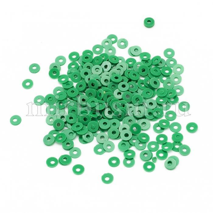 Пайетки, Круглые, Матовые, Цвет: Зеленый, Размер: 3мм, около 2700шт/10г, (УТ100024196)