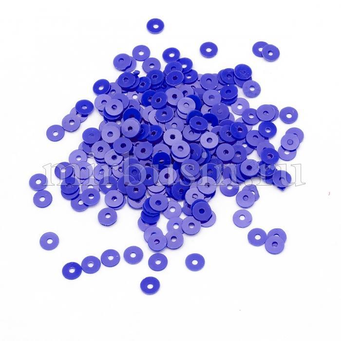 Пайетки, Круглые, Матовые, Цвет: Синий, Размер: 3мм, около 2700шт/10г, (УТ100024197)
