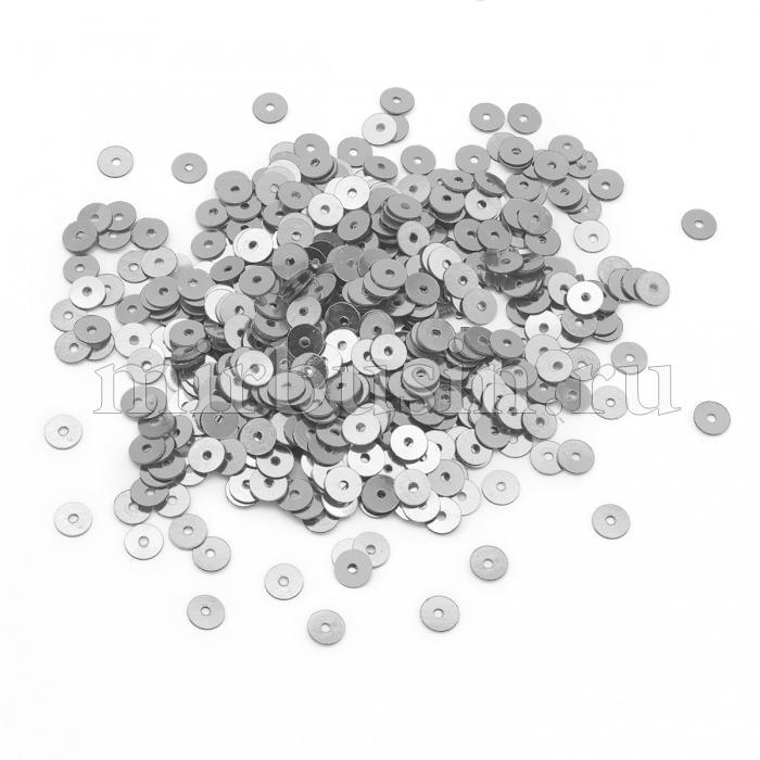Пайетки, Круглые, Непрозрачные, эффект Античный Металлик, Цвет: Серебро, Размер:4мм, около 2000шт/10г, (УТ100024207)
