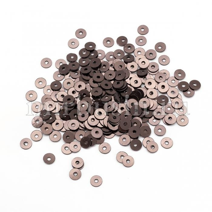 Пайетки, Круглые, Непрозрачные, эффект Античный Металлик, Цвет: Коричнево-бронзовый, Размер: 4мм, около 2000шт/10г, (УТ100024208)