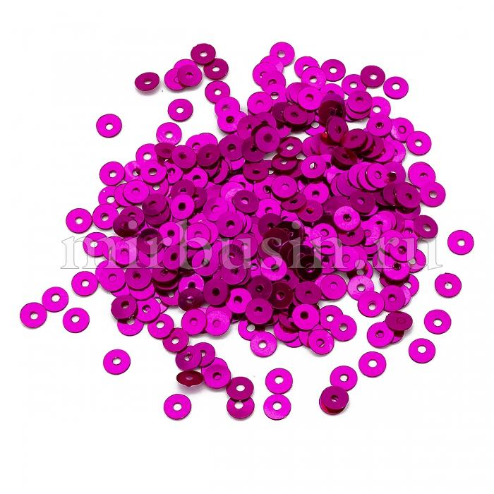Пайетки, Круглые, Непрозрачные, эффект Античный Металлик, Цвет: Фуксия, Размер:4мм, около 2000шт/10г, (УТ100024212)
