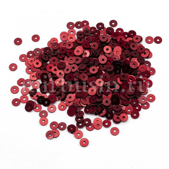 Пайетки, Круглые, Непрозрачные, эффект Античный Металлик, Цвет: Темно-красный, Размер:4мм, около 2000шт/10г, (УТ100024214)