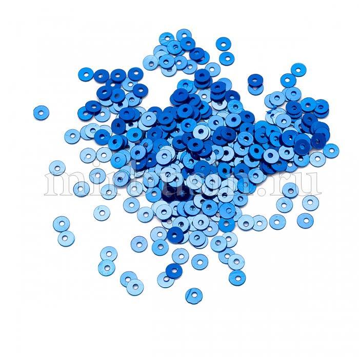 Пайетки, Круглые, Непрозрачные, эффект Античный Металлик, Цвет: Синий, Размер:4мм, около 2000шт/10г, (УТ100024217)
