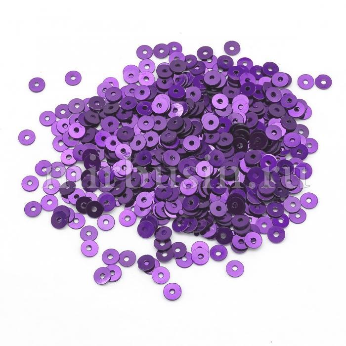 Пайетки, Круглые, Непрозрачные, эффект Античный Металлик, Цвет: Сиренево-фиолетовый, Размер:4мм, около 2000шт/10г, (УТ100024220)