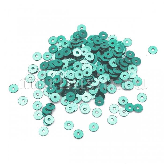 Пайетки, Круглые, Непрозрачные, эффект Античный Металлик, Цвет: Морской-зеленый, Размер:4мм, около 2000шт/10г, (УТ100024230)