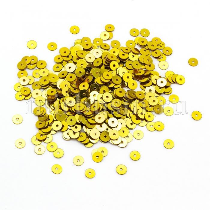 Пайетки, Круглые, Непрозрачные, эффект Античный Металлик, Цвет: Желтое Золото, Размер:4мм, около 2000шт/10г, (УТ100024231)