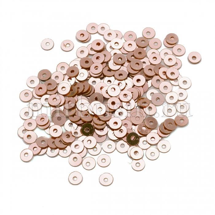 Пайетки, Круглые, Непрозрачные, эффект Античный Металлик, Цвет: Жемчужно-розовый, Размер:4мм, около 2000шт/10г, (УТ100024232)