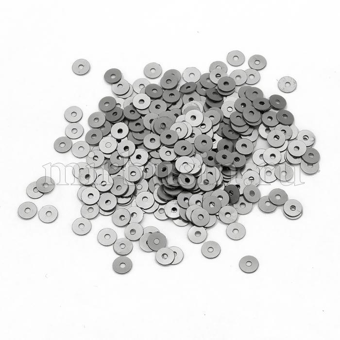 Пайетки, Круглые, Непрозрачные, эффект Античный Металлик, Цвет: Серебристо-серый, Размер:4мм, около 2000шт/10г, (УТ100024238)