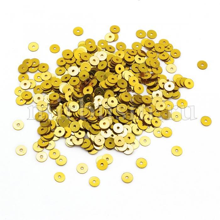 Пайетки, Круглые, Непрозрачные, эффект Античный Металлик, Цвет: Желто-золотой, Размер:4мм, около 2000шт/10г, (УТ100024239)