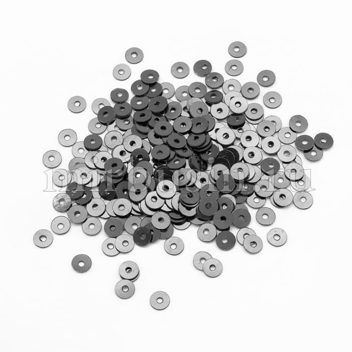 Пайетки, Круглые, Непрозрачные, эффект Античный Металлик, Цвет: Стальной, Размер: 4мм, около 2000шт/10г, (УТ100024241)