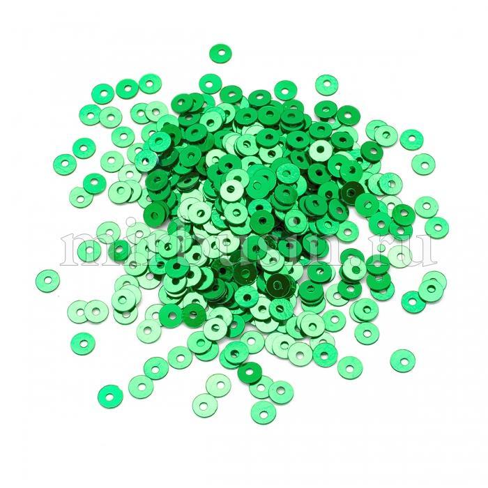 Пайетки, Круглые, Непрозрачные, эффект Античный Металлик, Цвет: Зеленый, Размер: 4мм, около 2000шт/10г, (УТ100024245)