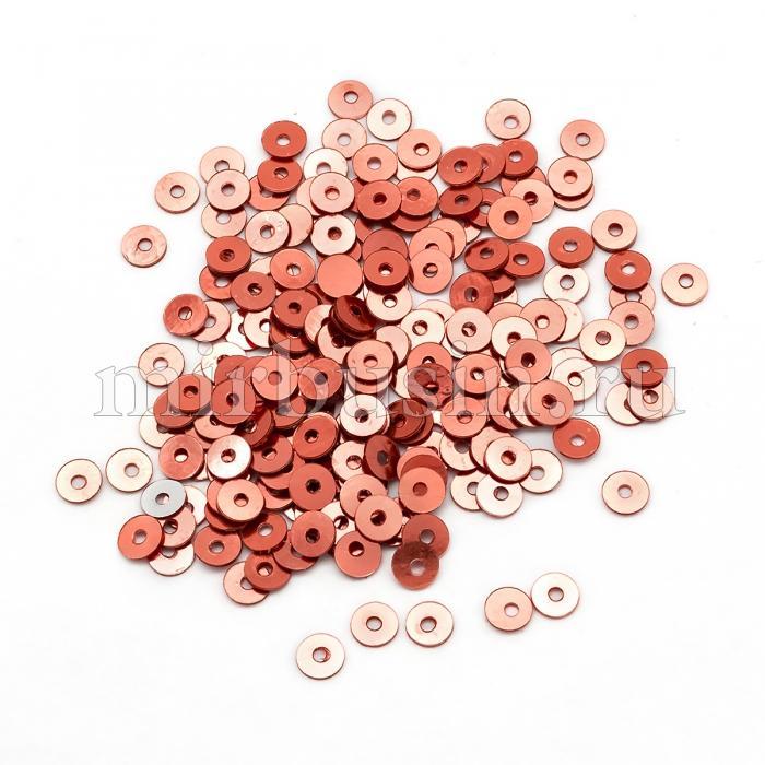 Пайетки, Круглые, Непрозрачные, эффект Античный Металлик, Цвет: Медно-красный, Размер: 3мм, около 3000шт/10г, (УТ100024254)