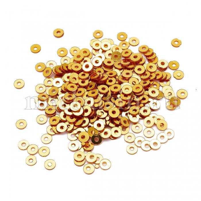 Пайетки, Круглые, Непрозрачные, эффект Античный Металлик, Цвет: Желто-коричневый, Размер:3мм, около 3000шт/10г, (УТ100024256)