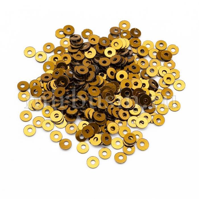 Пайетки, Круглые, Непрозрачные, эффект Античный Металлик, Цвет: Коричнево-золотистый, Размер: 3мм, около 3000шт/10г, (УТ100024258)