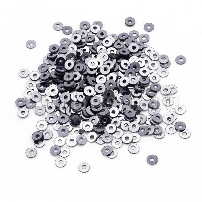 Пайетки, Круглые, Непрозрачные, эффект Античный Металлик, Цвет: Черничный, Размер: 3мм, около 3000шт/10г, (УТ100024263)
