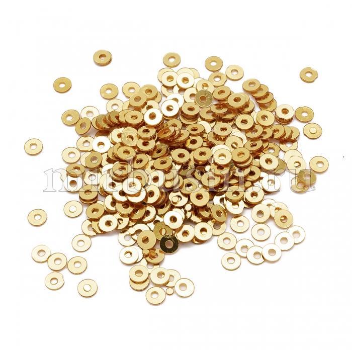Пайетки, Круглые, Непрозрачные, эффект Античный Металлик, Цвет: Светлое Золото, Размер: 3мм, около 3000шт/10г, (УТ100024264)
