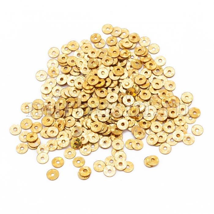 Пайетки, Круглые, Голографические, Цвет: Золото, Размер: 4мм, около 1800шт/10г, (УТ100024267)