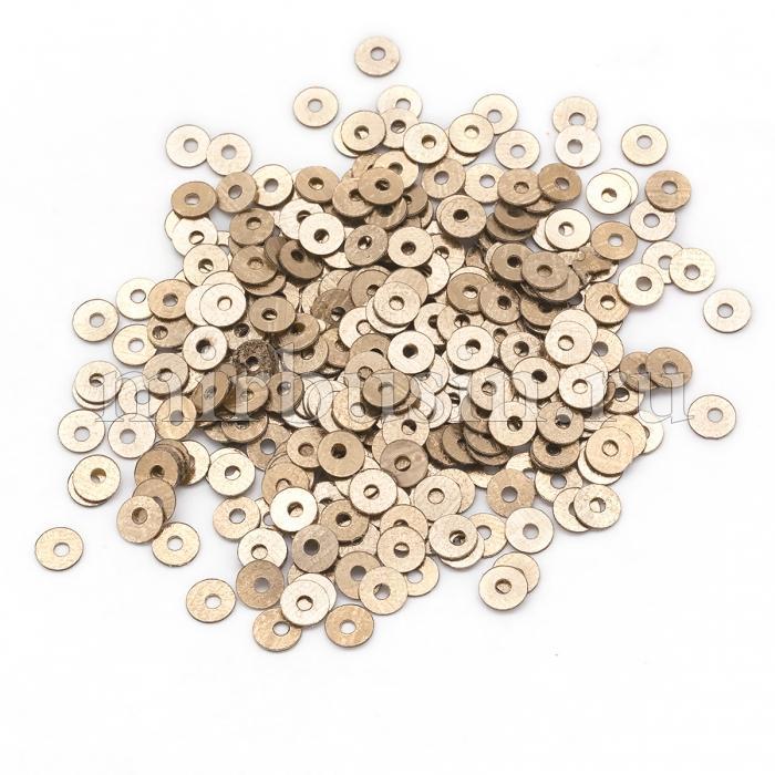 Пайетки, Круглые, Блестящие, Цвет: Золото, Размер: 4мм, около 2000шт/10г, (УТ100024274)
