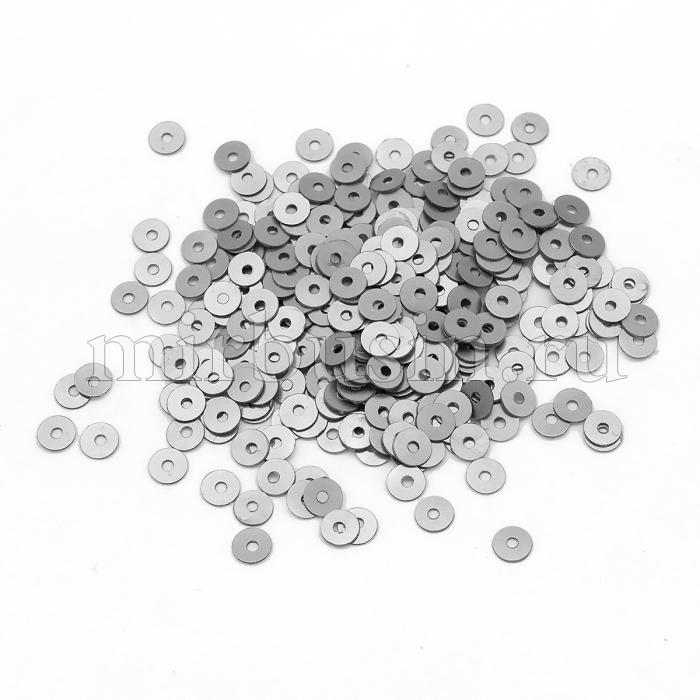 Пайетки, Круглые, Непрозрачные, эффект Античный Металлик, Цвет: Серебро, Размер: 5мм, около 1150шт/10г, (УТ100024281)
