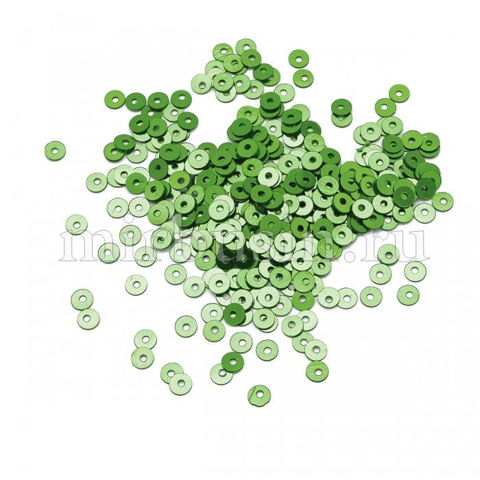 Пайетки, Круглые, Перламутровые, Цвет: Зеленый, Размер: 3мм, около 4000шт/10г, (УТ100024293)