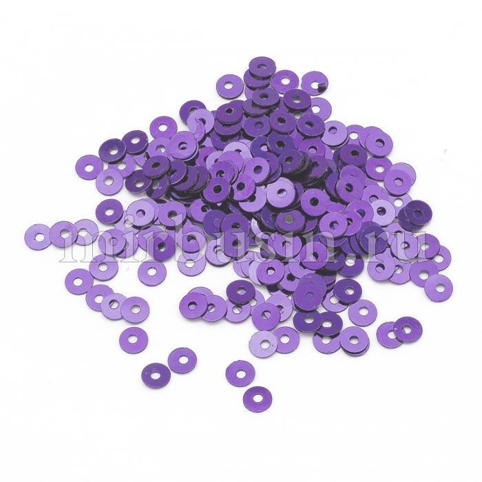 Пайетки, Круглые, Перламутровые, Цвет: Сиренево-фиолетовый, Размер: 3мм, около 4000шт/10г, (УТ100024294)