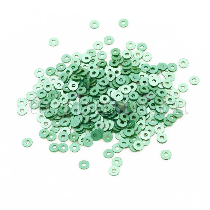 Пайетки, Круглые, Перламутровые, Цвет: Зеленый, Размер: 3мм, около 4000шт/10г, (УТ100024295)