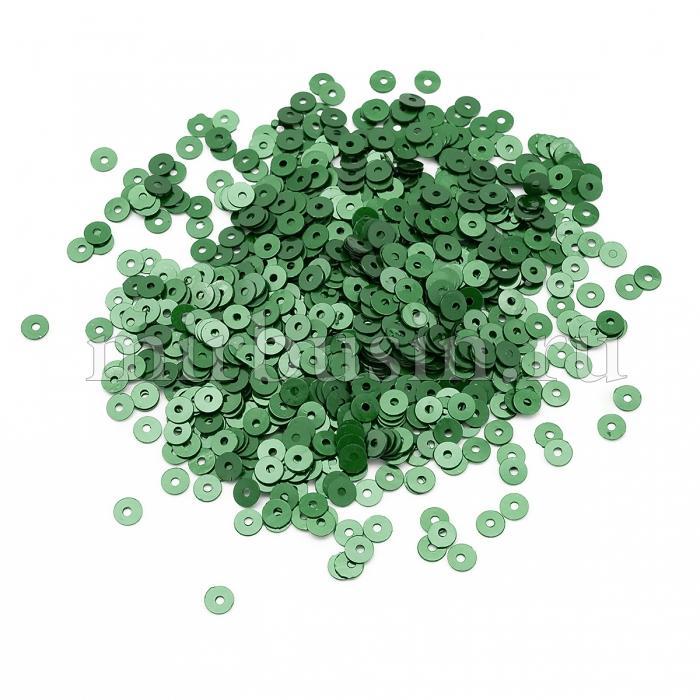 Пайетки, Круглые, Перламутровые, Цвет: Изумрудный, Размер: 4мм, около 2500шт/10г, (УТ100024310)