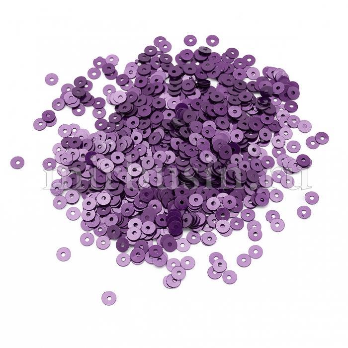 Пайетки, Круглые, Перламутровые, Цвет: Сиреневый, Размер: 4мм, около 2500шт/10г, (УТ100024316)