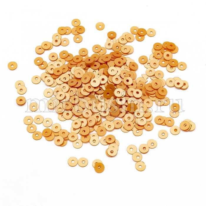 Пайетки, Круглые, Перламутровые, Цвет: Оранжевый, Размер: 4мм, около 2500шт/10г, (УТ100024317)
