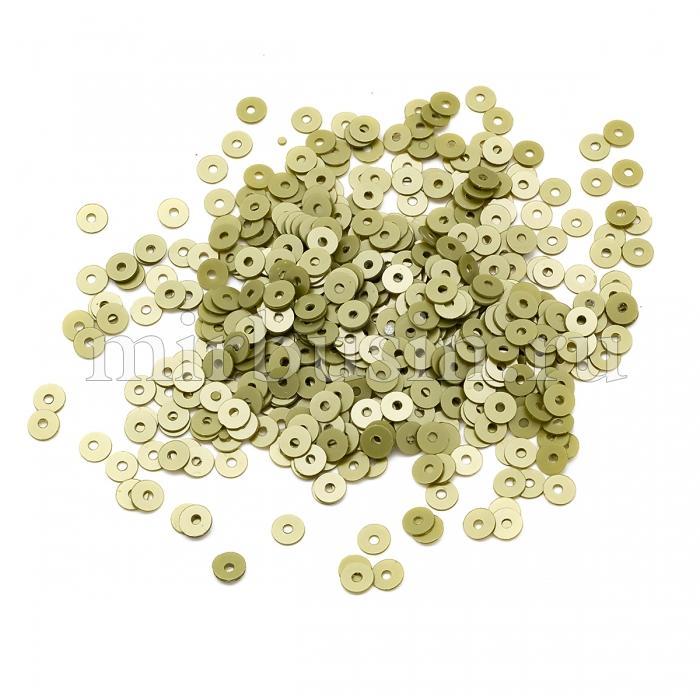 Пайетки, Круглые, Перламутровые, Цвет: Болотный, Размер: 4мм, около 2500шт/10г, (УТ100024318)