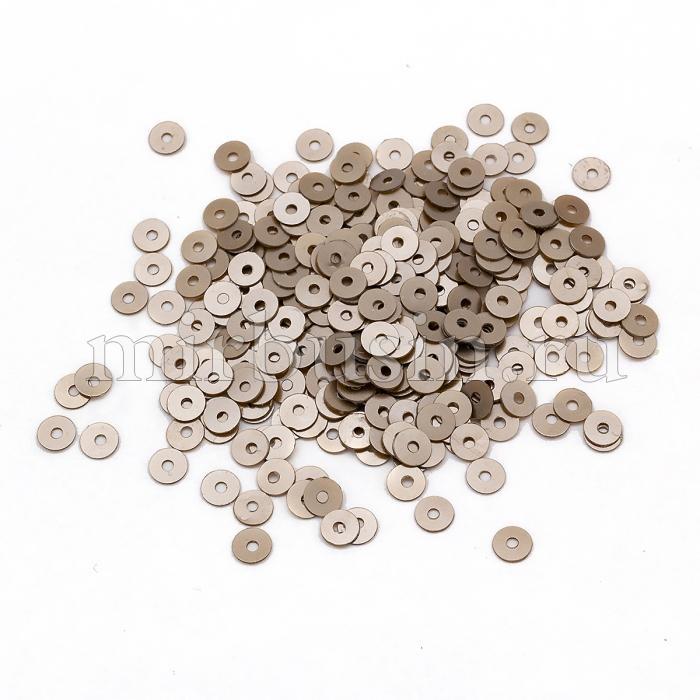 Пайетки, Круглые, Перламутровые, Цвет: Коричневый Размер: 4мм, около 2500шт/10г, (УТ100024322)