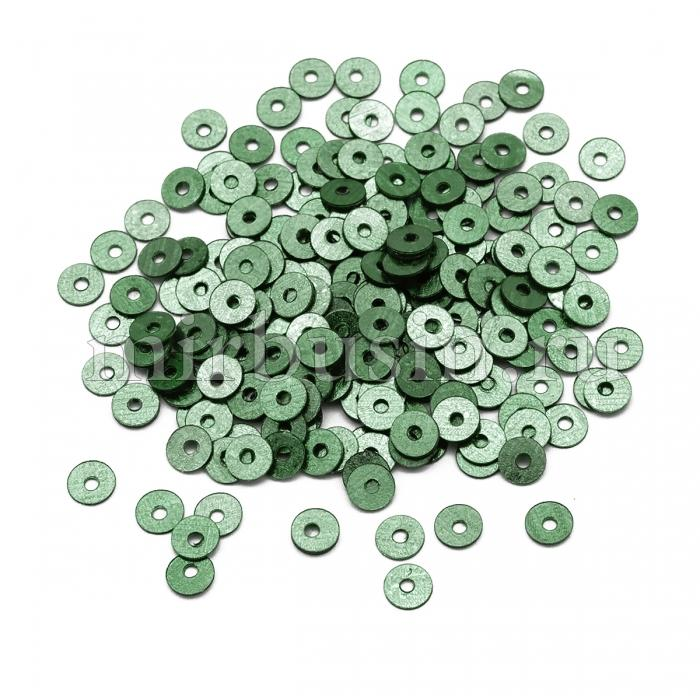 Пайетки, Круглые, Перламутровые, Цвет: Темно-зеленый, Размер: 3мм, около 4000шт/10г, (УТ100024335)