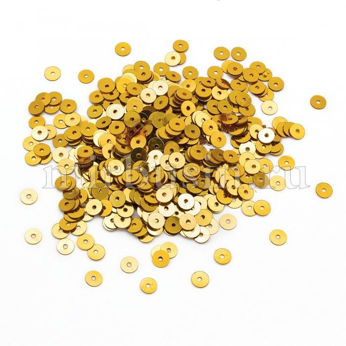Пайетки, Круглые, Непрозрачные, эффект Античный Металлик, Цвет: Желтое Золото, Размер:5мм, около 1150шт/10г, (УТ100024285)