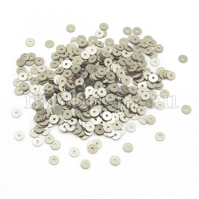 Пайетки, Круглые, Непрозрачные, эффект Античный Металлик, Цвет: Серебро, Размер: 5мм, около 1150шт/10г, (УТ100024286)