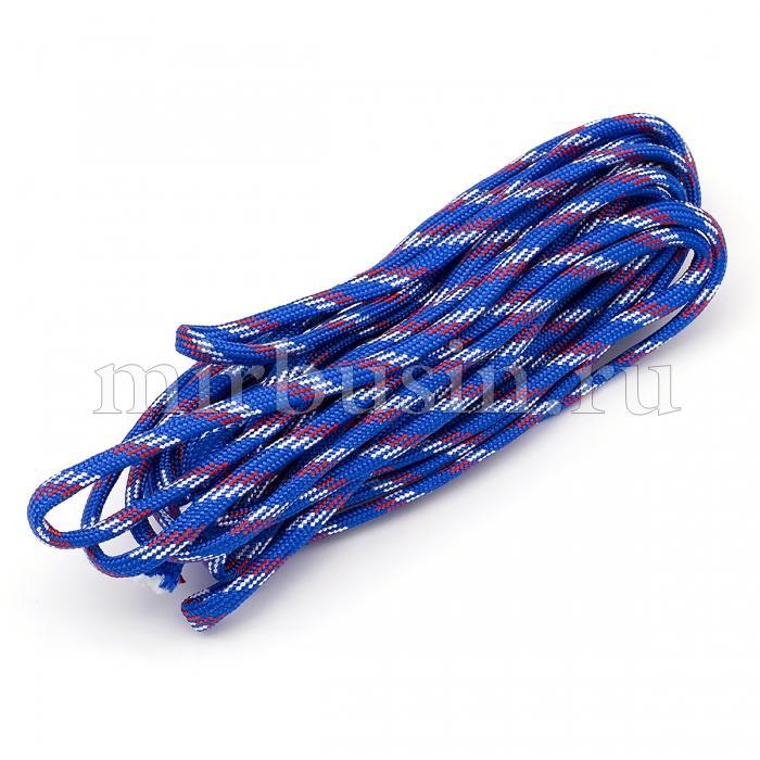 Шнур Паракорд Полиэстер, подходит для плетения браслетов, Полосатый, Цвет: Синий, Размер: 4мм, (УТ100024343)