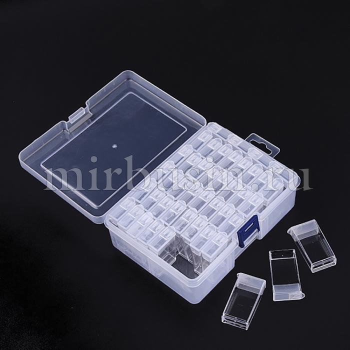 Контейнер с Коробчками для Бисера, Пластик, Размер: 50x27x12мм, Контейнер 17.8x11.7x5.7см, Отверстие 9х10мм, 44шт/контейнер, (УТ100024345)