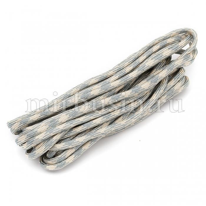 Шнур Паракорд Полиэстер, подходит для плетения браслетов, Полосатый, Цвет: Серый, Размер: Ширина 4мм, (УТ100024348)