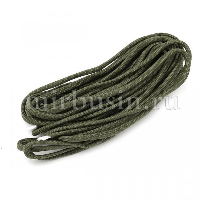Шнур Паракорд Полиэстер, подходит для плетения браслетов, Цвет: Темно-оливковый, Размер: Диаметр 4-5мм, (УТ100024357)
