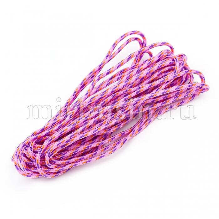 Шнур Паракорд Полиэстер, подходит для плетения браслетов, Полосатый, Цвет: Розово-сиреневый, Размер: Диаметр 2мм, (УТ100024382)